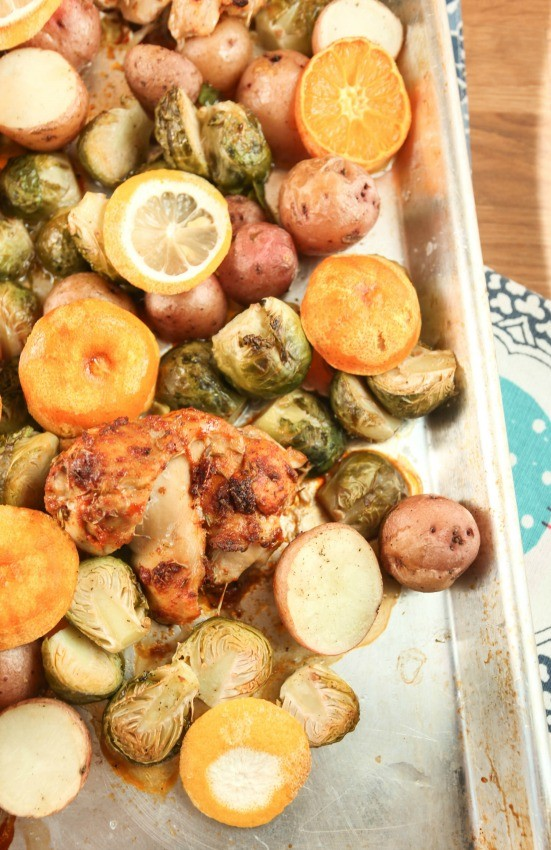 Baked Chicken Thighs with Lemony, Brussels Sprouts and Potatoes ...