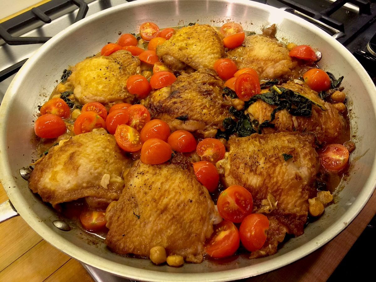 Skillet Chicken with Kale, Chickpeas, Shallots, and Tomatoes - The ...