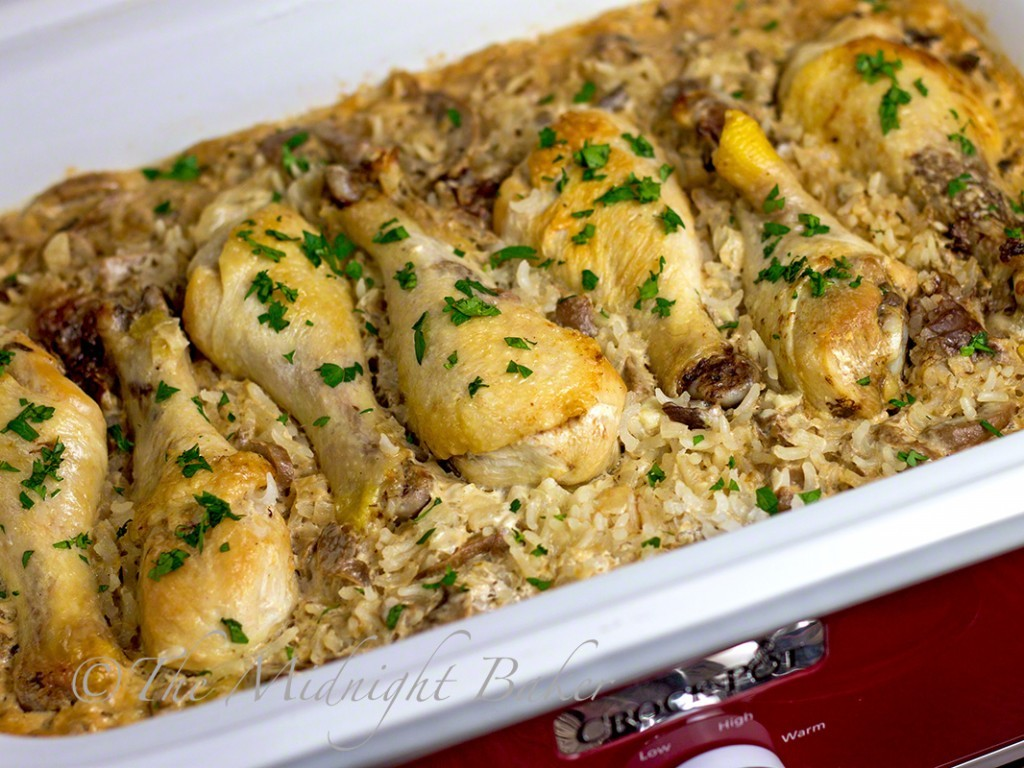 Slow Cooker Chicken with Creamy Mushroom Rice - The Midnight Baker