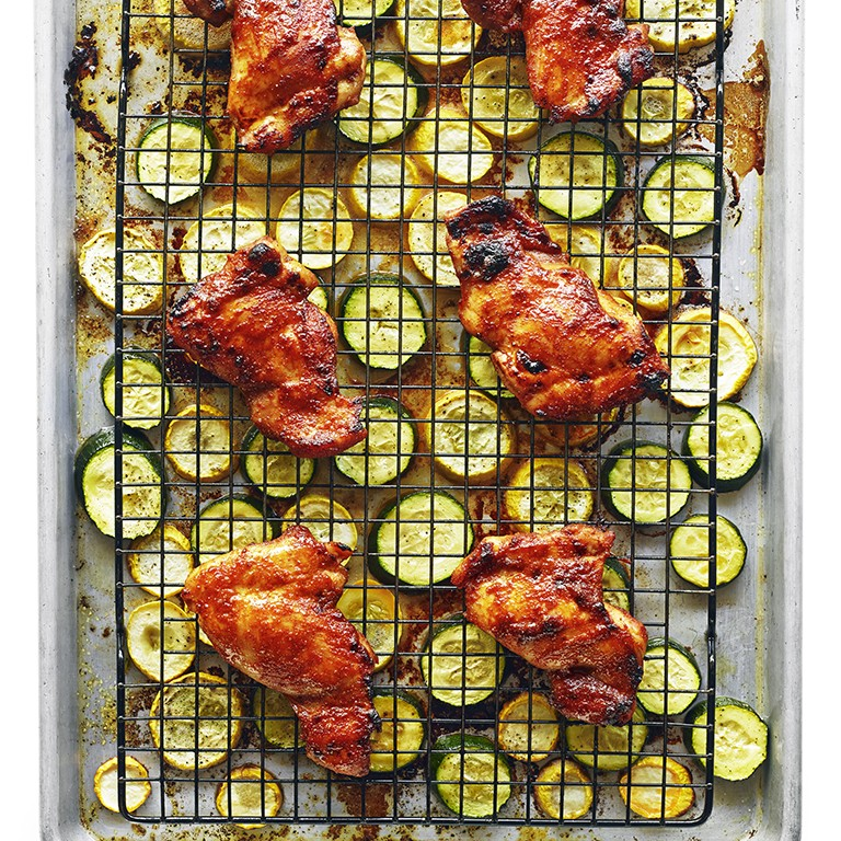Spicy Chicken Thighs with Summer Squash Recipe - Sunset Magazine