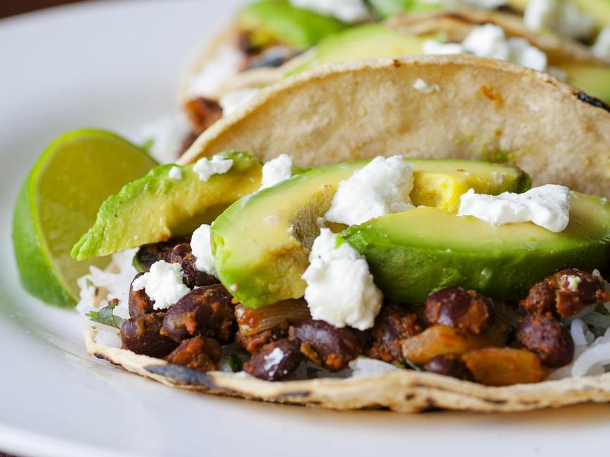 Achiote Black Bean Tacos with Grilled Avocado and Goat Cheese ...