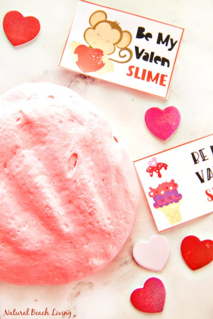 Valentines Day Slime - Fluffy Slime with free Valentine