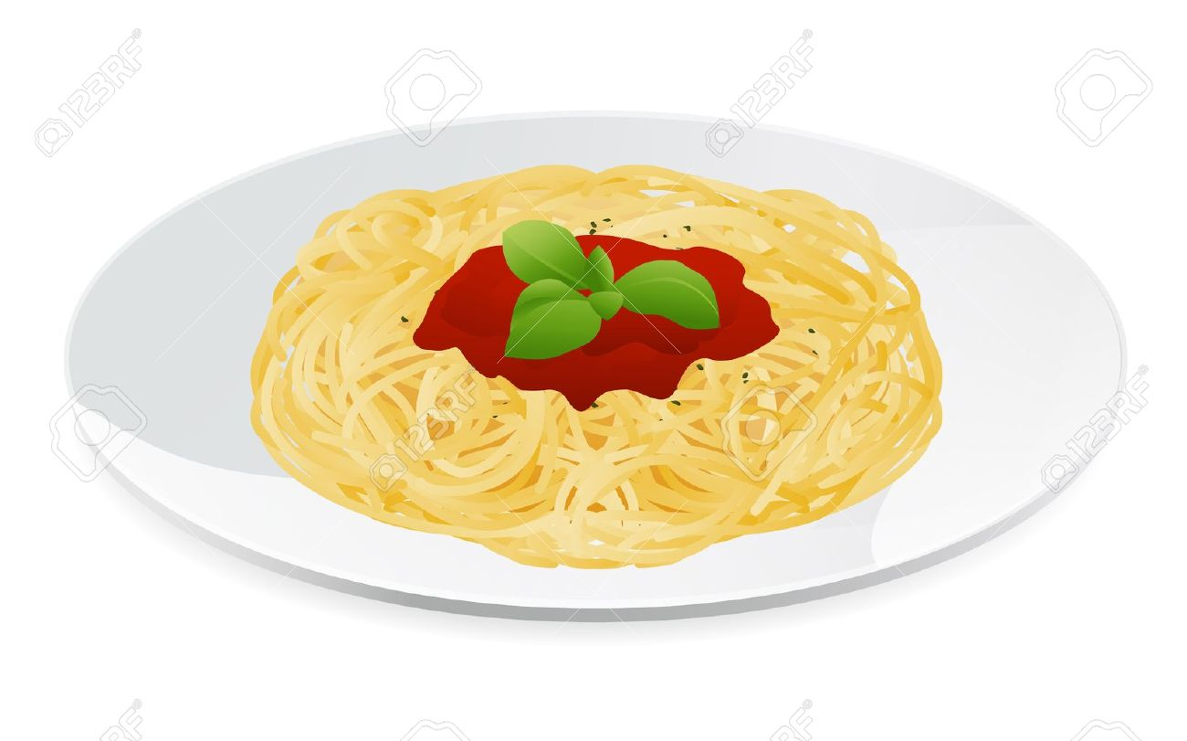 Vector Illustration Of Spaghetti Bolognese With Tomato Sauce ...