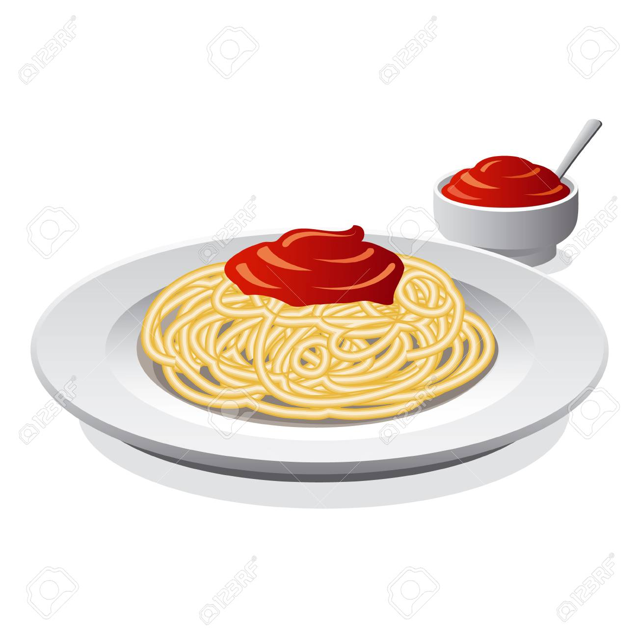 Spaghetti With Sauce Royalty Free Cliparts, Vectors, And Stock ...