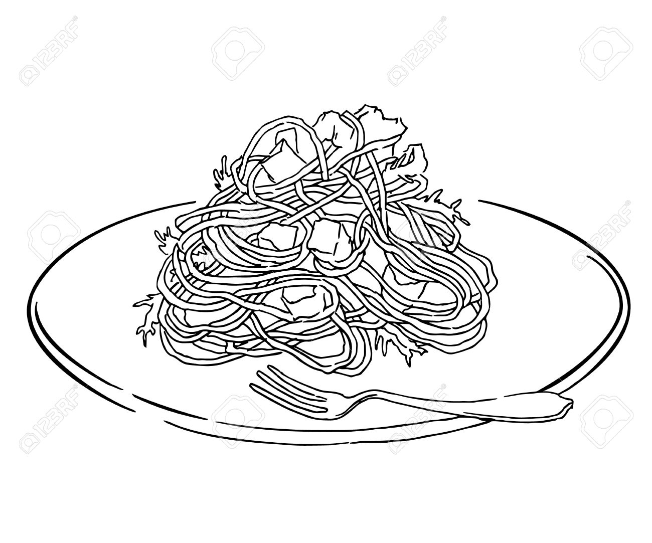 Vector Sketch Of Spaghetti Plate. Italian Food Draw. Isolated ...
