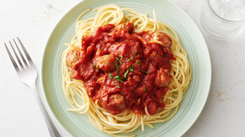 Slow-Cooked Italian Sausage Pasta Sauce with Spaghetti Recipe ...