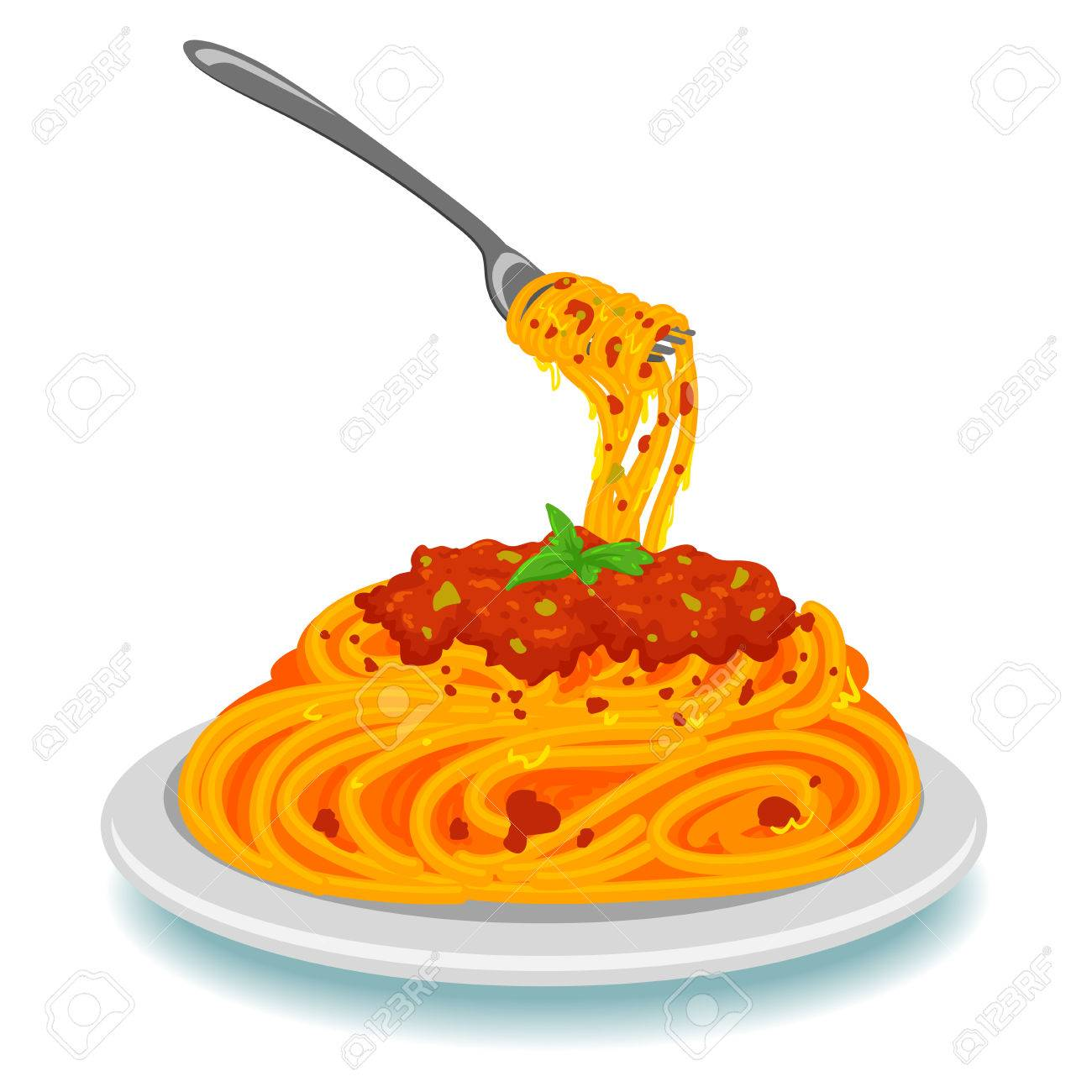 Vector Illustration Of Spaghetti With Fork On Plate Royalty Free ...