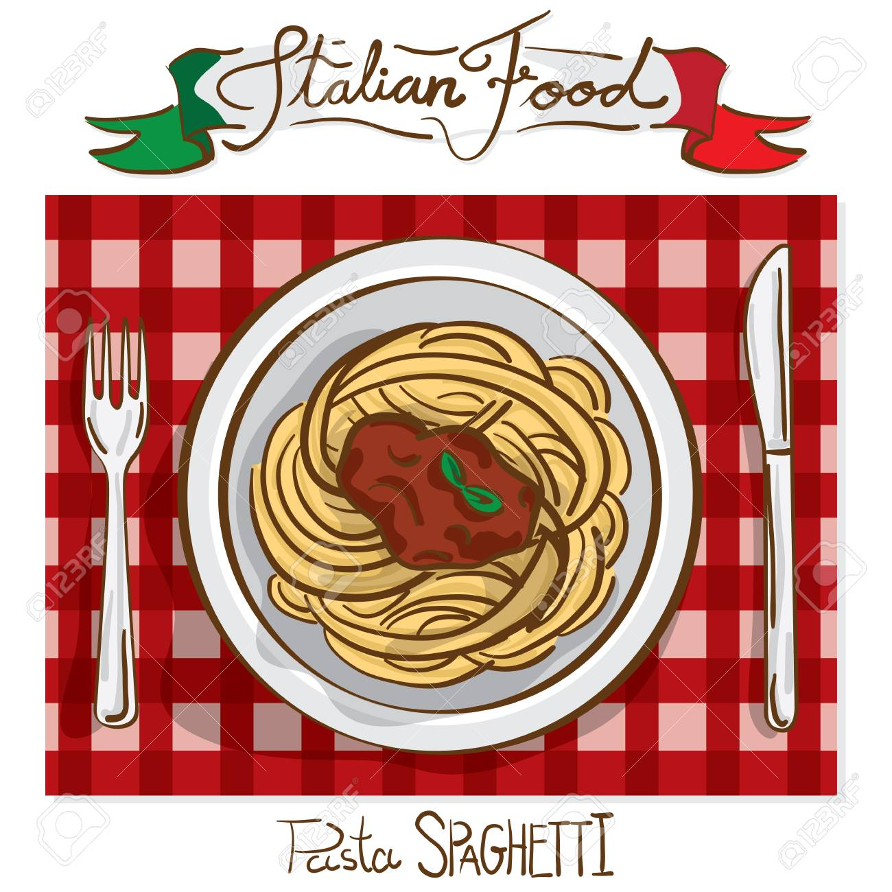 Italian Foods Spaghetti Drawing Graphic Design Illustrate Objects ...