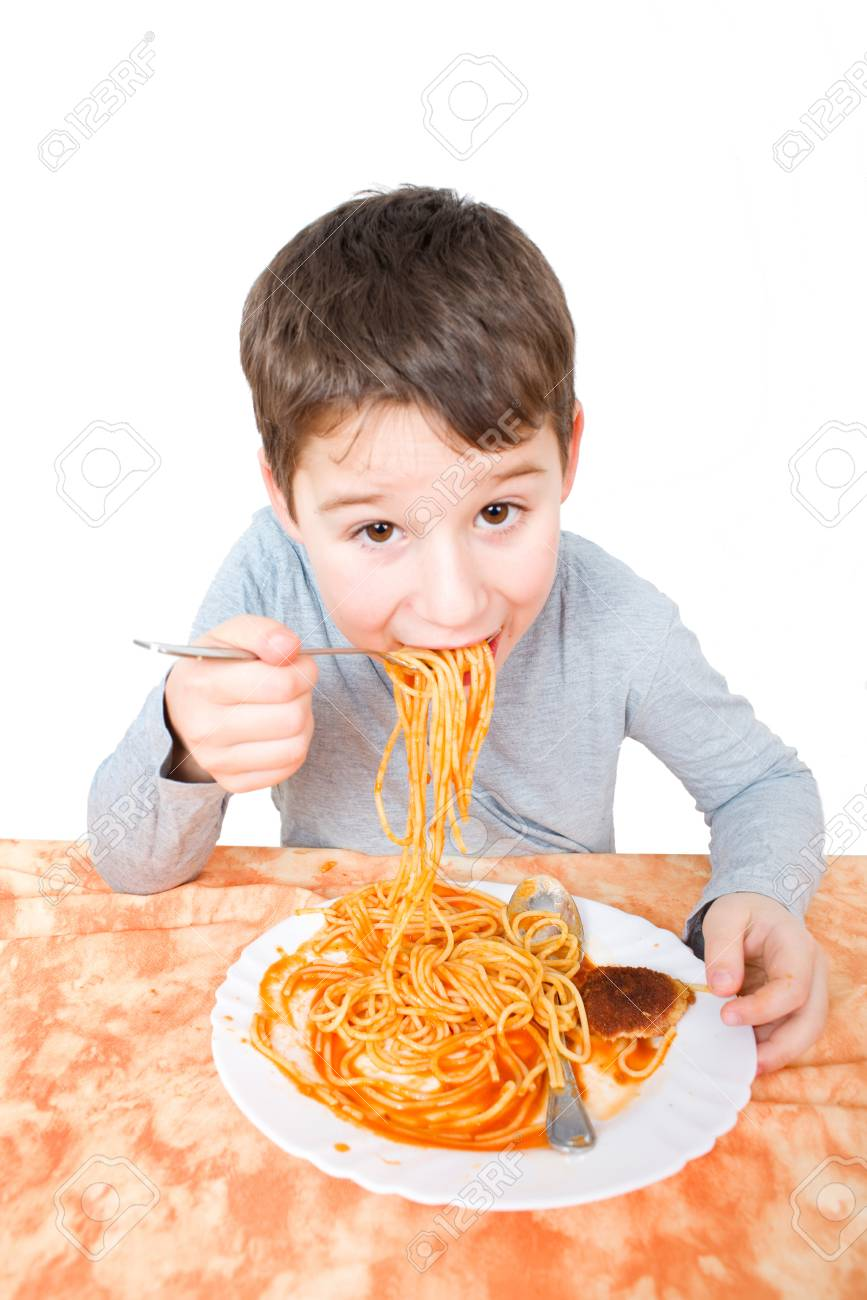 Little Boy Eating Spaghetti Stock Photo, Picture And Royalty Free ...