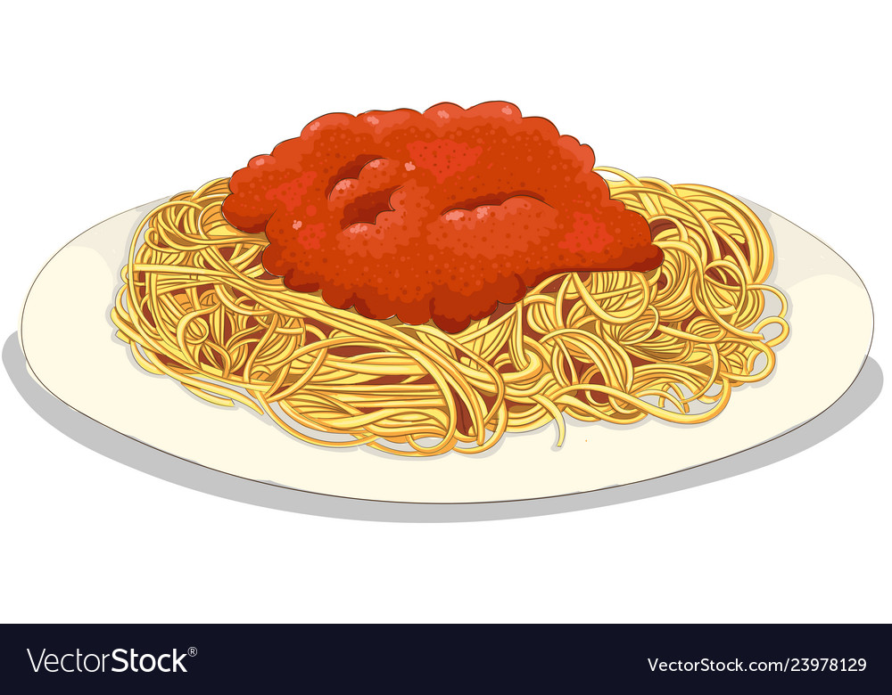 Bolognese pasta hand drawing Royalty Free Vector Image