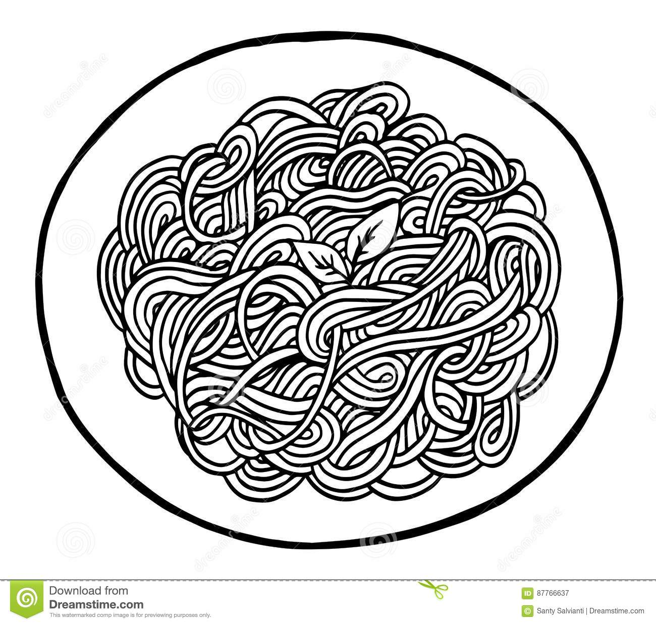 Doodle Spaghetti Hand Drawing Stock Vector - Illustration of black ...