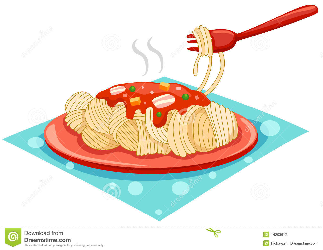 A Plate Of Spaghetti With Fork Stock Vector - Illustration of ...