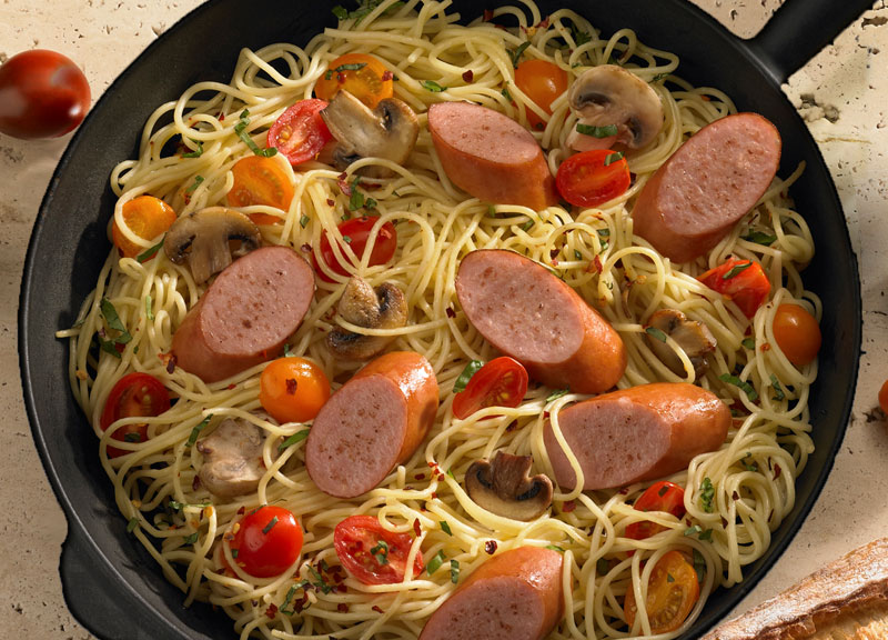Smoked Sausage and Spaghetti Skillet Dinner - Johnsonville