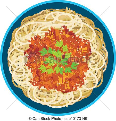 Spaghetti in a plate. Vector illustration. it is created in the ...