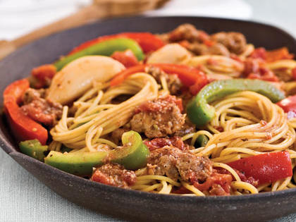 Spaghetti With Sausage and Peppers Recipe | MyRecipes