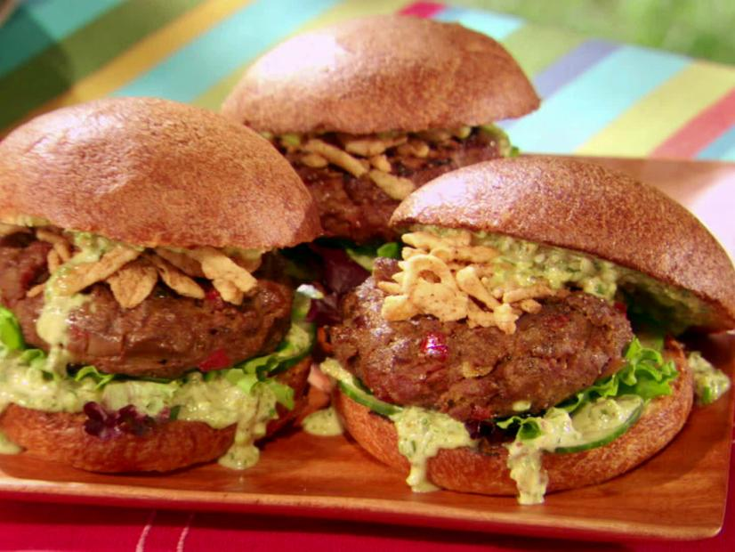 Malaysian Indian Curry-Spiced Beef Burgers Recipe | Food Network
