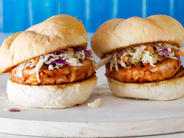 BBQ Chicken Burgers with Slaw Recipe | Rachael Ray | Food Network