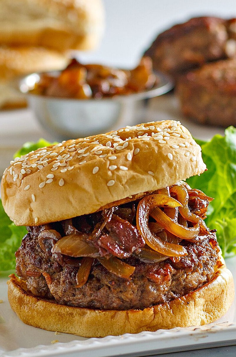 Bacon Burgers with Balsamic Caramelized Onions - Recipe Girl