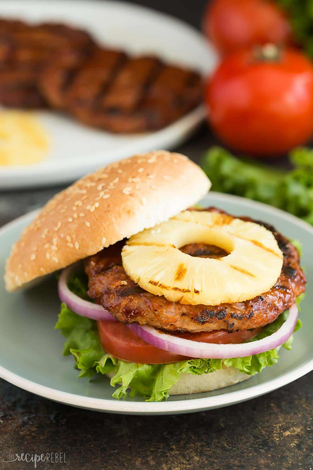 Hawaiian Chicken Burgers with Grilled Pineapple + VIDEO